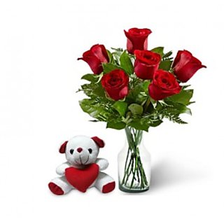 KaBloom Six Red Rose Bouquet & Teddy