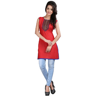 Lookslady Orange Embroidered Shimmer Stitched Kurti