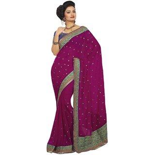 Aagaman Evoking Floral Embroidered Chiffon Saree With Brocade Blouse TSAMKME9084a
