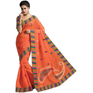 Aagaman Peach Cotton Embroidered Saree With Blouse