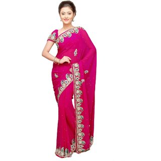 Aagaman Remarkable Magenta Colored Stone Worked Chiffon Saree TSMRFS11843