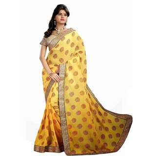 Aagaman Yellow Chiffon Lace Saree With Blouse