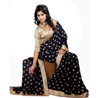 Aagaman Sophisticated Blue Colored Border Worked Faux Georgette Saree TSMY011