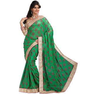 Aagaman Eyecatchy Green Colored Border Worked Chiffon Saree TSMY020