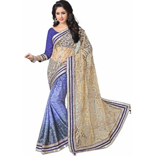 Aagaman Astounding Blue Colored Embroidered Net Saree TSTFZO10111