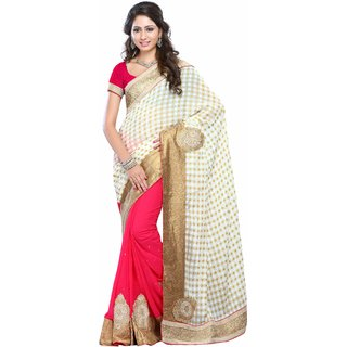 Aagaman Stunning Pink Colored Stone Worked Georgette Jacquard Saree TSKR178P