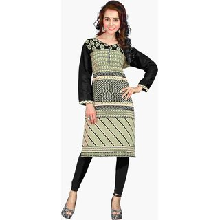 Triveni Beautiful Beige Colored Printed Blended Cotton Kurti