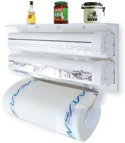 Shopper52 Triple Paper Dispenser Tri wrap, Foil Paper, Cling Cutter, Kitchen Tool