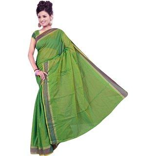 srujan textiles chettinadu green plain cotton saree
