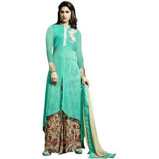 Triveni Splendid Green Colored Embroidered Faux Georgette Salwar Kameez