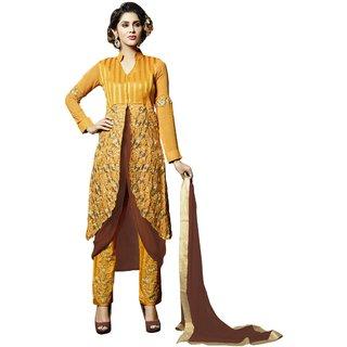 Triveni Sensational Yellow Colored Embroidered Faux Georgette Salwar Kameez