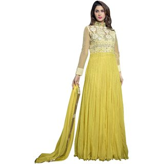 Triveni Dazzling Yellow Colored Embroidered Net Anarkali