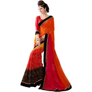 Gerbera Designer Amazing Georgette Orange and Black Designer Printed Saree