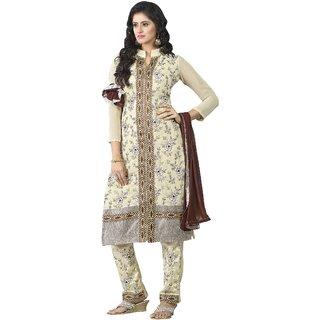 Triveni Beautiful Cream Colored Embroidered Faux Georgette Salwar Kameez (Unstitched)