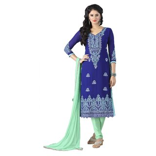 Triveni Pleasing Blue Colored Embroidered Faux Georgette Salwar Kameez (Unstitched)
