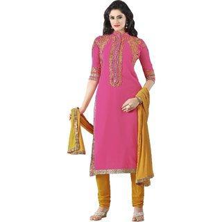 Triveni Charming Magenta Colored Embroidered Faux Georgette Salwar Kameez (Unstitched)