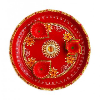 Handmade Golden Kundan Pooja Thali with Decorated Diya Set