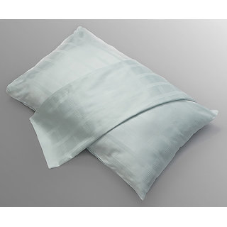 Sea Green Check Dobby Pillow Cover Set Of 2Pcs (PC40001)