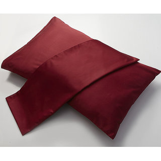 Maroon Solid Pillow Cover Set Of 2Pcs (PC40013)