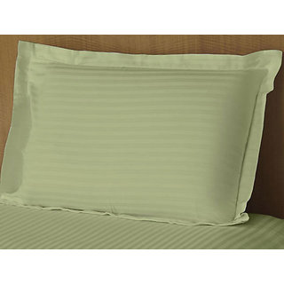 Green Sateen Stripe Pillow Cover 2 Pc Set (STCLD1CM1031)