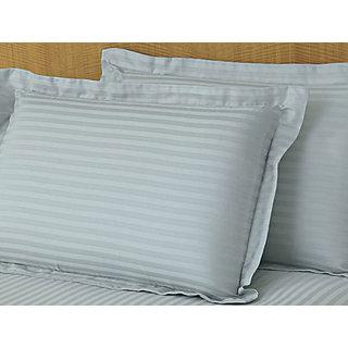 Sky Blue Sateen Stripe Pillow Cover 2 Pc Set (STCLD1CM1035)