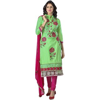 Triveni Admirable Green Colored Embroidered Blended Cotton Salwar Kameez (Unstitched)