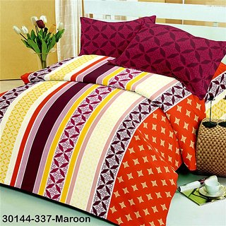 Maroon Cotton Double Bedsheet Set (BLSDBS1039)