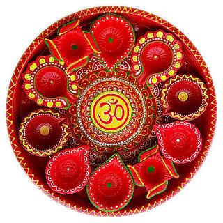 Handmade Diwali Special Pooja Thali with Decorated Diye Set