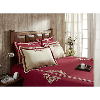 Red Cilantro Patchwork King Bed Sheet Set (FWNYVAD1001)