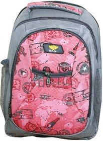 Sami Pink  Grey Polyester School Bag For Boys