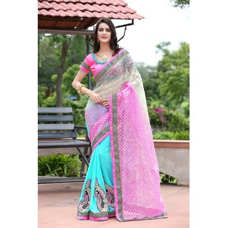 Aagaman Astounding Blue Colored Border Worked Cotton Georgette Saree TSGNPT560