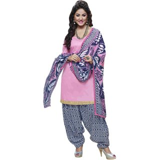 Triveni Smart Pink Colored Printed Blended Cotton Salwar Kameez (Unstitched)