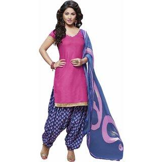 Triveni Khaki Cotton Lace Salwar Suit Dress Material (Unstitched)