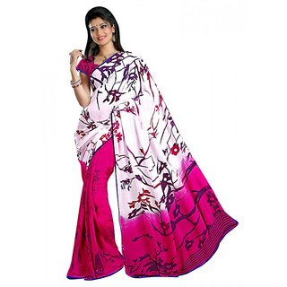 Aagaman Pink Faux Georgette Printed Saree With Blouse