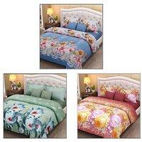 K Decor Polycotton 3D Double Bedsheet With 6 Pillow Covers-Multicolour Set Of 3 (3D-03)