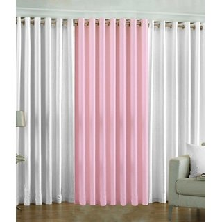 Ech oly Plain White and Pink Curtain set of 3