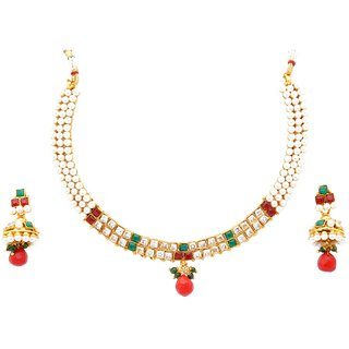 Kanha Art Jewellery 5171 Multi Color Pearl Necklace Set With Princess Cut Diamon