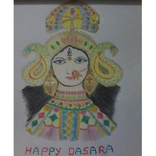Durga matha colour pencil sketch on paper