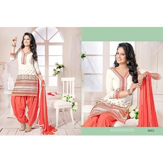 Designer Semi Stitched White Patiyala Salwar Suit