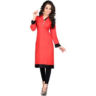 Triveni Beautiful Red Colored Casual wear Cotton Kurti