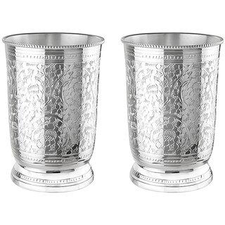 KANAK BRASS DECORATIVE ELEGANT GLASS SET (SILVER,SET OF 2)