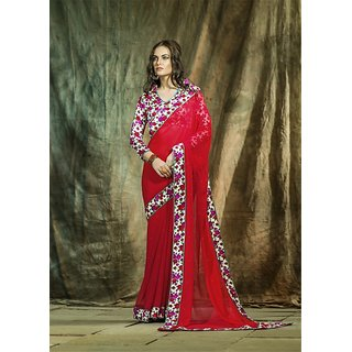SmartLady Red Color Georgette Fabric Printed Saree