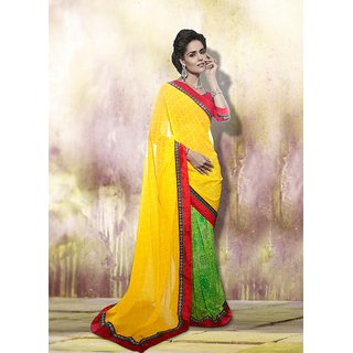 SmartLady Yellow  Green color Georgette Fabric Printed Saree