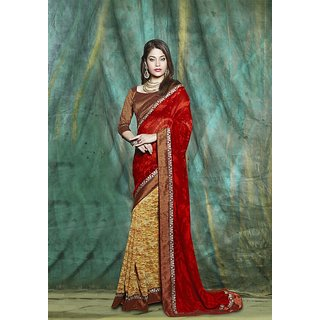 SmartLady Red  Beige color Georgette fabric designer saree