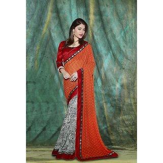 SmartLady Orange color Georgette fabric designer saree