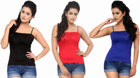 Combo - 3 Camisole Black/Red/Blue