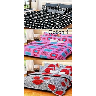 Handloomwala cotton double bed sheet set of 3 with 6 pillow covers