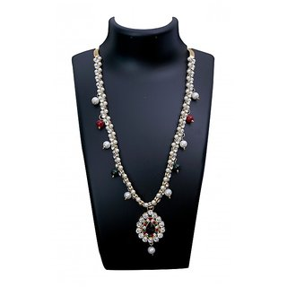 Triveni Fine-looking Red Colored Crystals Pearl Austrian Diamonds Necklace Set