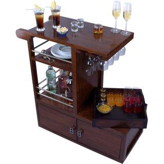 Sheesham Wood Brolley Bar Unit (Teak Finish) from MUBELL