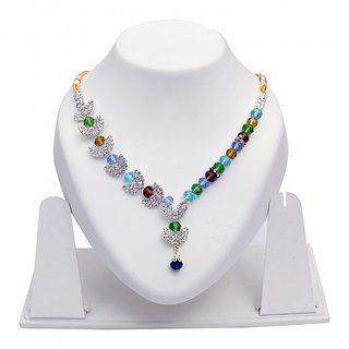 Triveni Appealing Multi Colored Crystals Pearl Austrian Diamonds Necklace